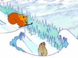 The little squirrel skiing