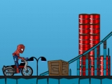 Spider man riding a motorcycle